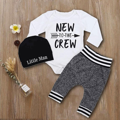 Little Man Letter Print Tops & Pants Set