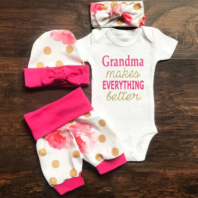 "4PCS ""Grandma makes EVERYTHING Better"" Lovely Floral Printed Baby Set"