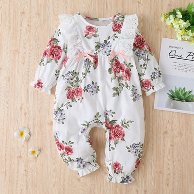 Cute Full Floral Printed Lace Long Sleeve Baby Girl Jumpsuit
