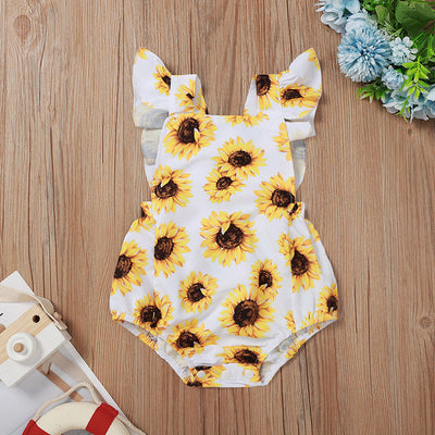 Lovely Sunflower Printed Baby Romper
