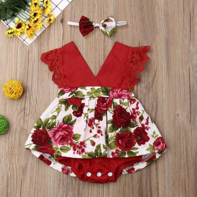 2PCS Pretty Floral Printed Baby Romper