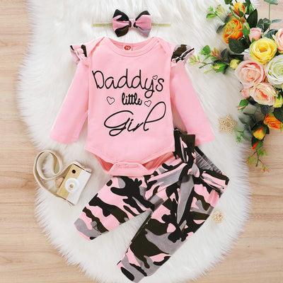 "3PCS ""Daddy's Little Girl"" Letter Printed Rufffled Romper With Camouflage Printed Bowknot Pants Baby Girl Set"