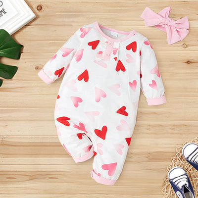 2PCS Sweet Heart-shaped Printed Baby Jumpsuit