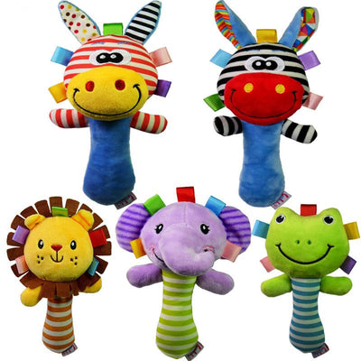 Single Cute Animal Soft Baby Wrist Rattles