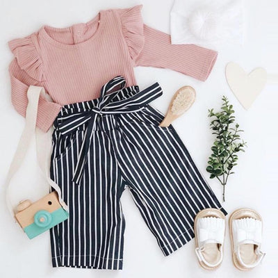 Ruffled Bodysuit and Striped Belted Pants Set