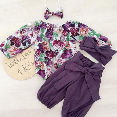 Floral Romper with Bowknot Decor Pants Set