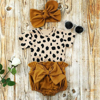 3PCS Cool Leopard Printed Baby Set