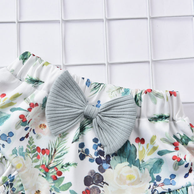 3PCS Pretty Solid Floral Printed Baby Set
