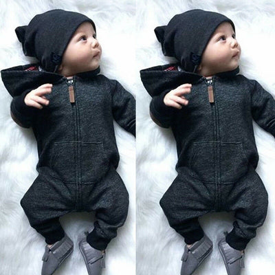 Autumn And Winter Lovely Dark Grey Printed Long-sleeve Baby Hoodie Jumpsuit
