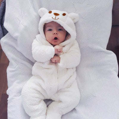 Autumn And Winter Sweet Bear Solid Printed Long-sleeve Baby Hoodie Jumpsuit