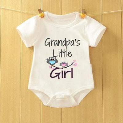 """Grandpa's Little Girl"" Birds Printed Baby Girl Romper"