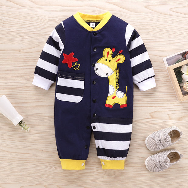 Lovely Cartoon Giraffe Printed Long-sleeve Baby Jumpsuit