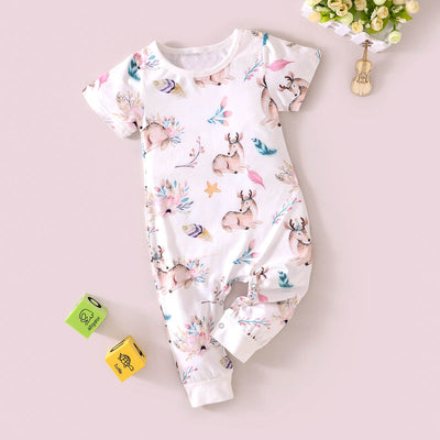 Cute Deer Printed Baby Jumpsuit