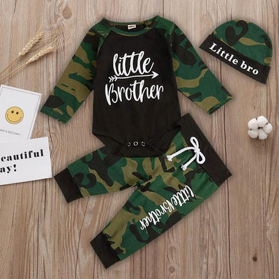 "3PCS Baby Boy ""Little Brother"" Camouflag Printed Baby Set"
