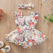 2PCS Lovely Floral Printed Baby Romper