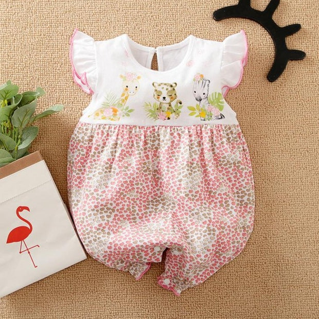 Sweet Cartoon Animal Printed Baby Romper