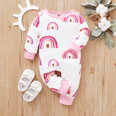Cute Rainbow Printed Baby Jumpsuit