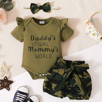 Daddy's Girl Mommy's World Camouflage Shorts Baby Set