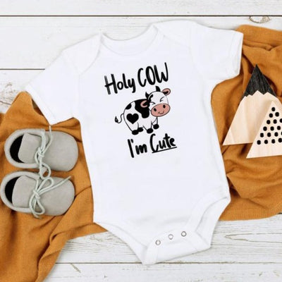 Holy Cow I'm Cute Cow Printed Baby Romper