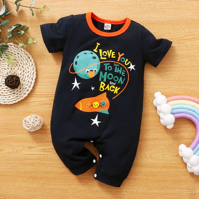 To The Moon And Back Rocket Printed Baby Jumpsuit