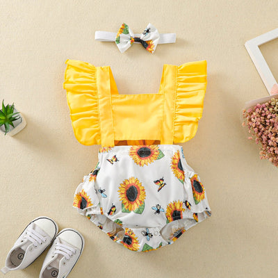 2PCS Lovely Sunflower Printed Baby Romper