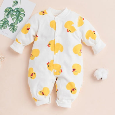 Lovely Cartoon Duck Printed Long-sleeve Baby Jumpsuit