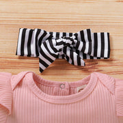 3PCS Cute Striped Belted Baby Set