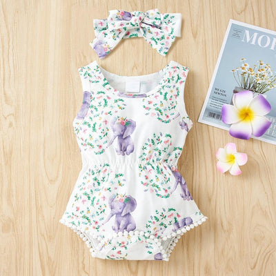 2PCS Cartoon Elephant Floral Printed Baby Romper