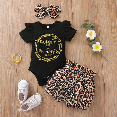 "3PCS ""Daddy's Girl Mommy's World"" Leopard Printed Baby Set"