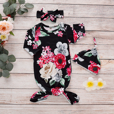 NewBorn Floral Print  Pajamas with Headband