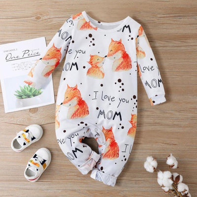 """I Love You Mom""Lovely Fox Printed Baby Jumpsuit"