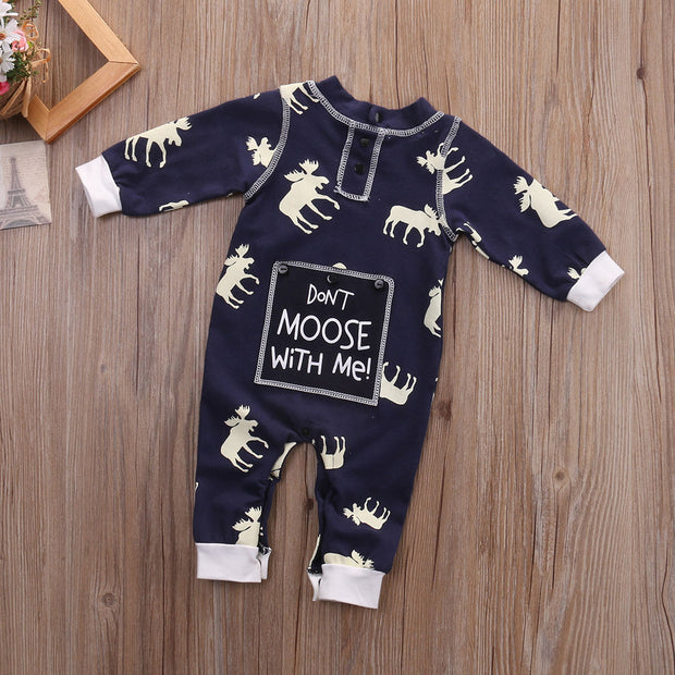 """Don't Moose With Me""Full Elk Printed Baby Jumpsuit"