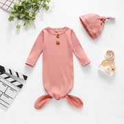 NewBorn Baby Sleeping Bag Solid Pajamas And Hat