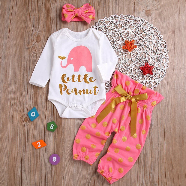 Little Elephant Print Top & Pant & Headband Set