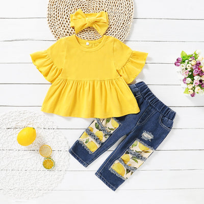 3PCS Baby/Toddler Solid Top and Floral Jean Set