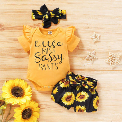 "3PCS ""Little Miss Sassy Pants"" Sunflower Printed Baby Set"