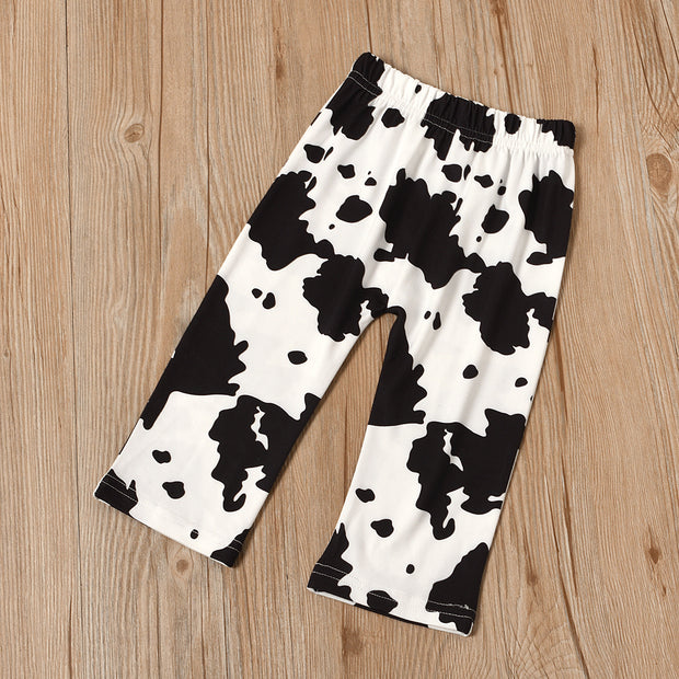 "3PCS ""Just a little MOO-lah"" Cow Printed Baby Set"