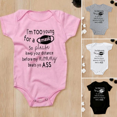 """I'm Too Young for A Mask So Please Keep Your Distance Before My Mommy"" Cute Letter Printed Short Sleeve Baby Romper"