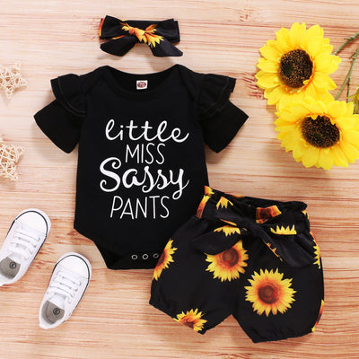 """Little miss sassy pants"" Sunflower Short Baby Set"