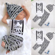 3PCS Cool Little Man Beard Printed Baby Set
