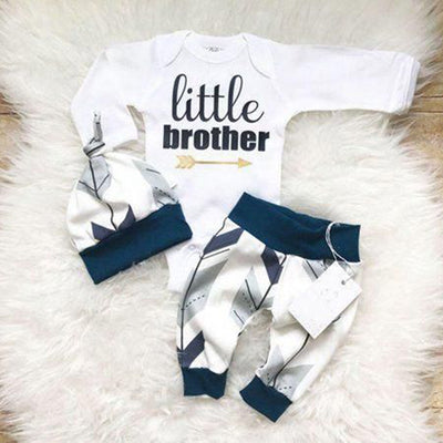 "3pcs ""Little Brother"" Letter Printed Romper+Floral Printed Pants+Hat Baby Girl Set"