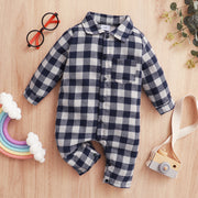Baby Classic Plaid Polo Collar Jumpsuit