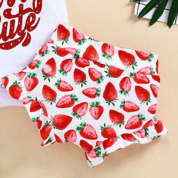 3PCS Lovely Strawberry Printed Baby Set