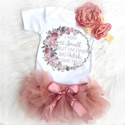 Baby Ruffled Floral Letter Print Top & Tutu Skirt Set