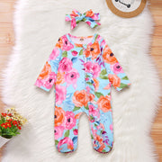 2PCS Full  Floral Printed Baby Girl Jumpsuit
