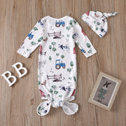 Cute NewBorn Floral Printed Sleeping Bag And Hat Baby Boy Girl Set