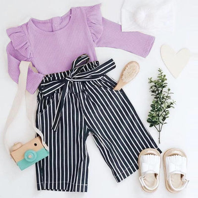2PCS Solid Romper Striped Printed Baby Set