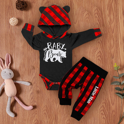 "2PCS ""Baby Bear"" Letter Printed 3D Ears Hoodie with Lattice Pants Baby Girl Boy Set"