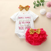 3PCS Twinkle Twinkle Little Star Printed Lovely Baby Set