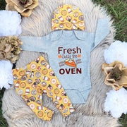"3PCS ""Fresh Outta The Oven"" Letter Printed Romper With Donuts Pants Baby Set"
